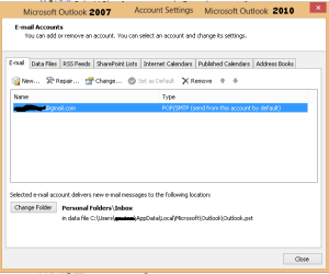 Account Settings Outlook 2007 and 2010